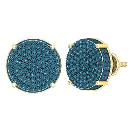 Dazzlingrock Collection Pendientes redondos de 0,50 quilates (quilates) de diamante azul redondo para mujer, círculo pavimentado con tuerca de 1/2 quilates, oro amarillo de 14 quilates