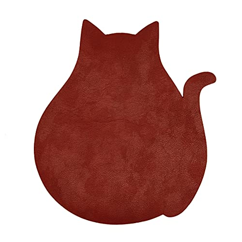 マウスパッド 猫 おしゃれ かわいい アニマル ネコ 動物 シンプル 無地 レザー 革 日本製 (レンガ)