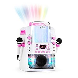 Auna Kara Liquida BT - Impianto Karaoke con Effetti Luce e Acqua, Bluetooth, CD, USB MP3, Uscita Video, 2 Microfoni, Altoparlante Integrato, Bianco/Rosa