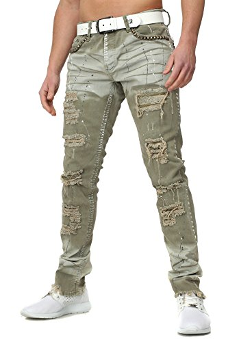 KINGZ Hombres Destruido Jeans SARGES Extremer Vintage Busque con Remaches Abierta Beinenden Farbkleckse Löcher De Color Caqui W31/L34 (Ropa)