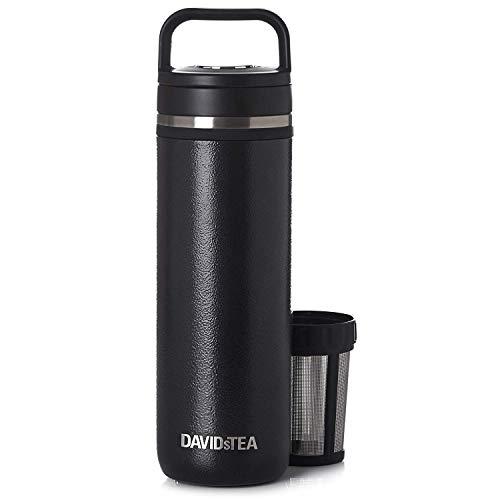 DAVIDsTEA Matcha Maker Travel Mug, Make Matcha Powder On The Go, 473 ml / 16 oz (Black)