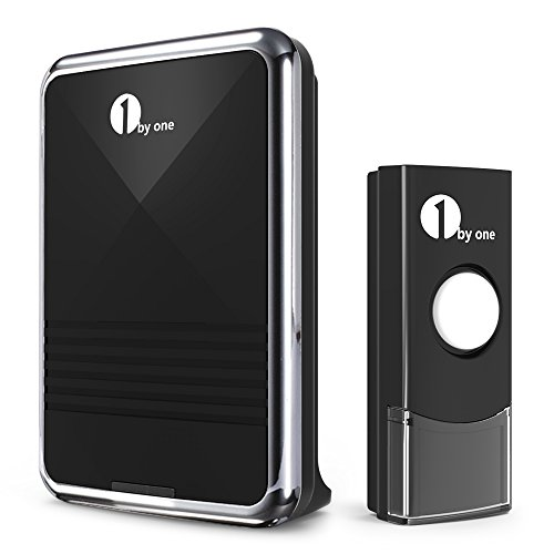 1byone Easy Chime Wireless Doorbell Door Chime Kit with CD Quality Sound and LED Flash 36 Melodies to Choose, Black