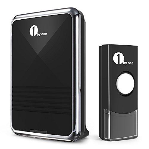 1byone Easy Chime Ensemble de sonnettes sans fil avec son qualité CD et flash LED, 36 mélodies à choisir, noir.
