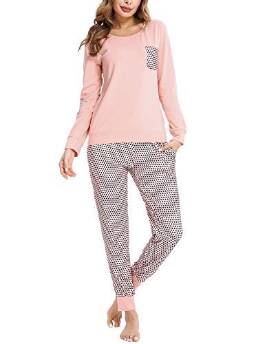 Doaraha Pijamas Mujer Conjunto de Pijama a Cuadros Pjs Top Ropa de Dormir Camisa y Pantalones con Bolsillo Manga Larga Soft Lounge Sets Ropa de Cama Loungewear (B# Rosa/Lunares, 2XL)