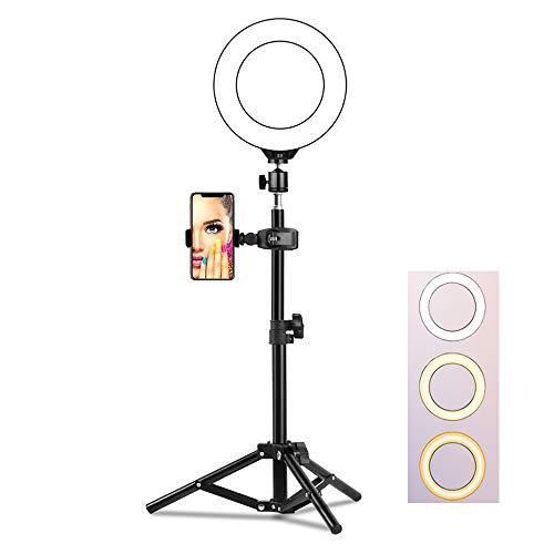 LED-ringlicht Met Statiefbeugel Voor Video En Make-up, Selfie-ringlicht Met Gsm-houder Dimbaar Licht,S