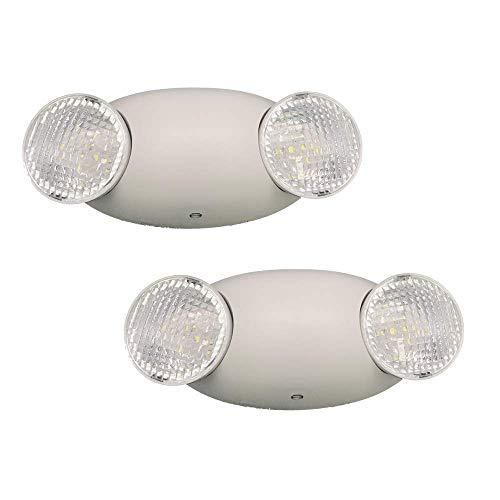AmazonCommercial LED Emergency Light, UL Certified, 2-Pack, Adjustable Two LED Bug Eye Head, Battery Backup