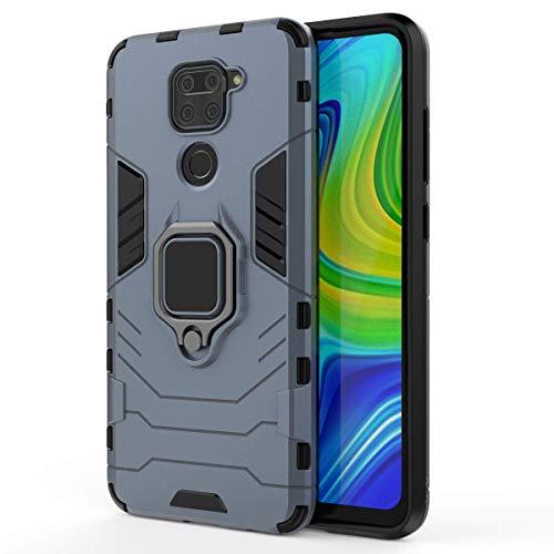 TANYO Funda para Xiaomi Redmi Note 9 / Redmi 10X 4G, Carcasa TPU/PC Hybrid Case con 360° Soporte, Robusta Silicona Estuche, Antigolpes Cover Caso Azul