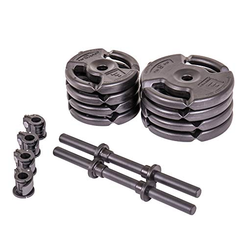 The Step Fitness Deluxe Dumbbell Set Includes 35 lbs. Total with Dumbbell Bars, Collars, and Weights, Black