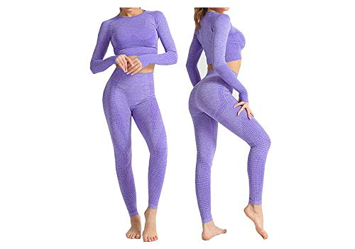 Boni Caro Women 2 Piece Seamless Sportwear Set Ladies Gym Wear Track Suit Home Yoga Workout Long Short Crop Tops with Thumb Hole + Leggings Fitness Outfits (Purple Long Sleeve Set S)