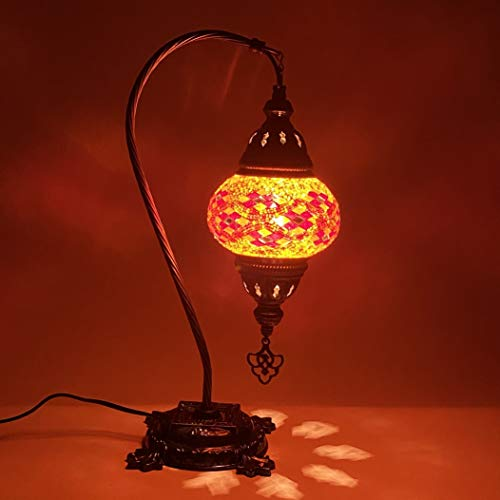 "Turkish Mosaic Camel Neck Lamp - 8.75""x16.25"" - DB2 - Orange"