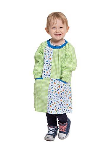 Ardeco's - Bata guardería sin botones coches verde niño niña (1)
