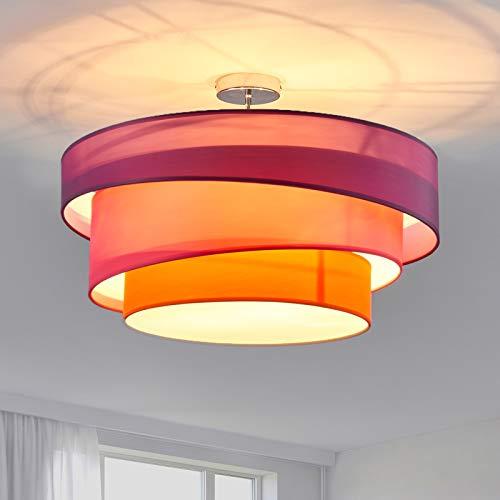 Lindby Stoff Deckenlampe rund 56 cm   3 flammig   3 Ringe   Textil Deckenleuchte Violett, Pink, Orange   Deckenleuchte Stoff für Schlafzimmer, Wohnzimmer, Esszimmer