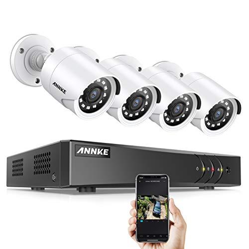 ANNKE 1080P Überwachungskamera System 4CH HD 5MP HDMI DVR Recorder mit 4 Außen 1080P Überwachungskamera Set ohne Festplatte, 30m IR Nachtsicht, Bewegung Alarm, Smartphone & PC Schnellzugriff