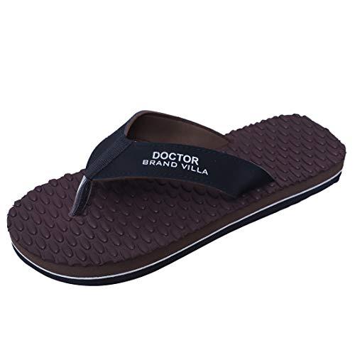 BRAND VILLA Slipper Ortho Care Orthopaedic Comfort Slipper, Flip-Flop and House Slipper for Men's (Aqua, Color: Brown, Size: 9)