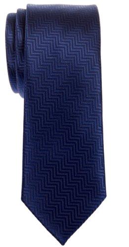 Retreez Cravate fine en microfibre tissée à rayures zigzag - Bleu - Taille Unique
