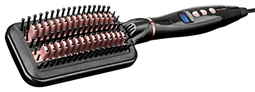 VITALmaxx 01562 Elektrische Glättbürste | Glätteisen & Antifrizz-Bürste in einem | Für jeden Haartyp | Digitale Temperaturanzeige mit LCD-Display | Schwarz-Rosa