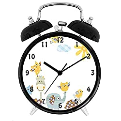 BCWAYGOD Nursery, Jolly Jungle Creatures Happily Walking in a Sunny Day Cute Animals,Desk Clock Home Unique Decorative Alarm Ring Clock 4in, Yellow Pale Blue Pale Green