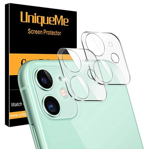 """[2 Pack] UniqueMe Protector de lente de cámara Compatible con iPhone 11 (6.1"""") / iPhone 12 mini (5.4"""") Cristal Templado, Protector de Pantalla [Sin Burbujas] [9H Dureza ] HD Vidrio Templado"""