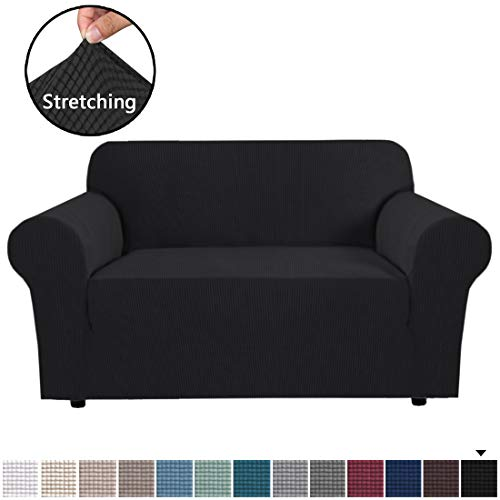 Stretch Couch Cover Loveseat Covers for 2 Cushion Couch Loveseat Slipcover|Sofa Cover for Loveseat 1 Piece with Elastic Bottom, Textured Checked Jacquard Fabric(Loveseat 58'-72' Wide, Black)