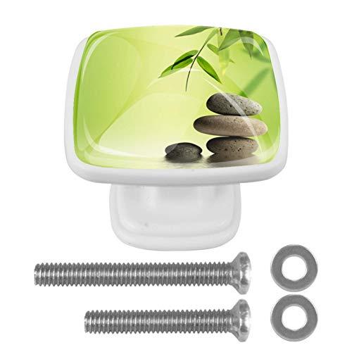 Con tornillos para cocina, aparador, armario, baño, perillas para armarios de cocina, pomos de armario de cristal transparente tiradores de 1.18 pulgadas de diámetro, bambú Zen Ston