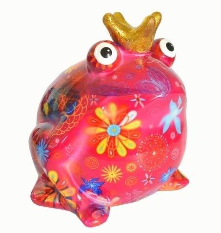 Pomme Pidou Spardose Frosch Freddy pink mit großen Blumen