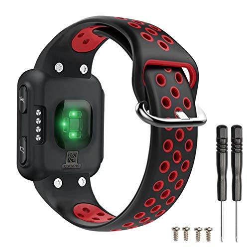 T-BLUER Watch Band Compatible for Garmin Forerunner 35 Bracelet,Accessoire de Courroie de Bracelet en Silicone Respirant Compatible pour Garmin Forerunner 35,Noir Rouge