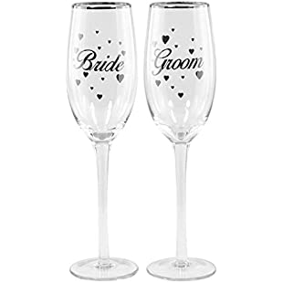 Wedding Champagne Flutes Bride and Groom