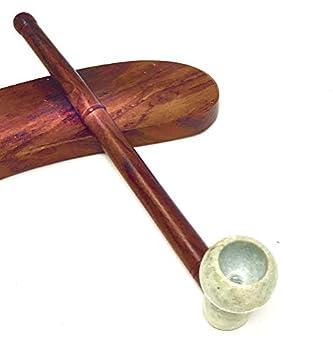 Round Bowl Sleek Stone Wood 6 inch Tobacco Long Stem Stone Bowl Hand Pipe