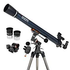 POWERFUL REFRACTOR TELESCOPE: The Celestron AstroMaster 70EQ Refractor telescope is a powerful and user-friendly refractor telescope. It features fully-coated glass optics, a sturdy and lightweight frame, two eyepieces, a StarPointer red dot findersc...