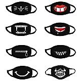 Loopardo 8 Stück Mundschutz Multifunktionstuch 3D Cartoon Druck Maske Waschbar Baumwolle Stoffmaske Dicker Staubdicht Atmungsaktiv Mund-Nasen Bedeckung Lustig Motiv Bandana Halstuch Herren Damen
