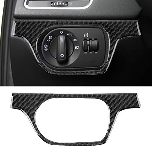 WANGZHEXIA Etiqueta decorativa del interruptor de la linterna del coche de la fibra de carbono de la tira de la protección del coche para Audi