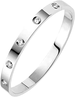 Jude Jewelers Classical Plain Stainless Steel Cubic Zircon Filled Bangle Bracelet