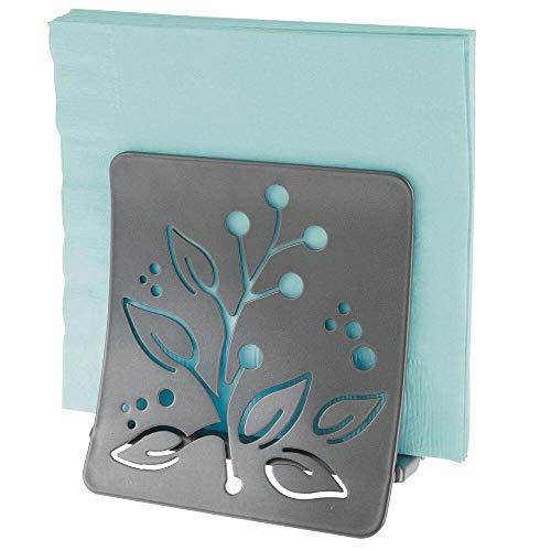 mDesign Elegante servilletero de mesa – Moderno y decorativo soporte para servilletas para mesas o encimeras - Dispensador de servilletas de metal – gris