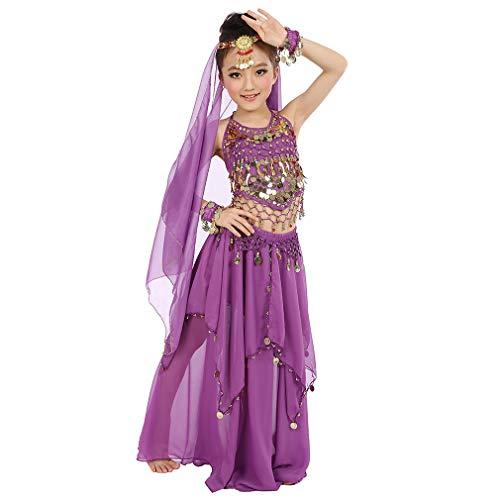 Vestito Operato dal Partito di Carnevale del Costume di Danza del Ventre delle Ragazze, Vestito da Principessa Arabo di Cosplay Dancewear Brillante dei Bambini (S, Viola)