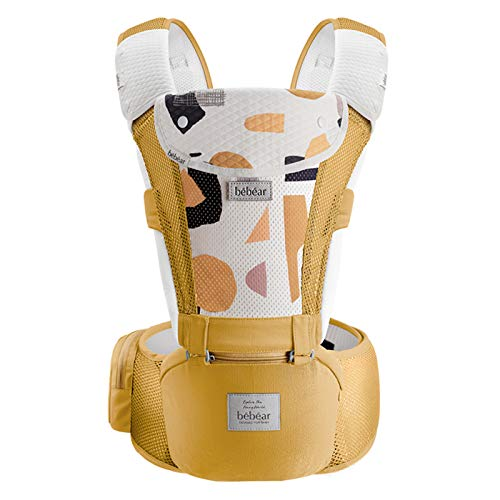 Bebamour Mesh Baby Carrier Front and Back Carry Baby Newborns to Toddler Baby Hip Carrier with 3 Pieces Teething Pads (Baby Carrier, Yellow)