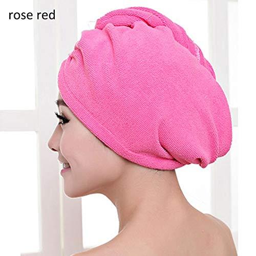 1 UnidsMujeres Baño Toalla de Baño de Microfibra Más Gruesa Toalla de Pelo Seco Toalla de Salón Toalla de Pelo de Secado Rápido Herramientas de Baño - Rosa roja 60x25cm