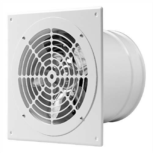 Ventilador extractor de pared de 200 mm de diámetro, de baja presión, para entrada de aire, 200 mm de diámetro, color blanco metalizado