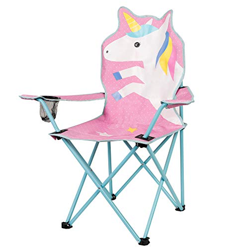 miuse Kids Folding Lawn and Camping Chair, Large Unicorn Foldable Seat Stick Chair with Mesh Cup Holder, Portable Garden Chair Beach Chair for Children Adults