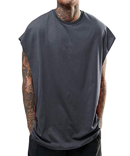 WEEN CHARM タンクトップ メンズ tシャツ夏 トップス カットソー ノースリーブ ゆったり ビッグシルエット Vest 日常 スポーツ タンクトップ ブラック グレー (ダークグレー, L)