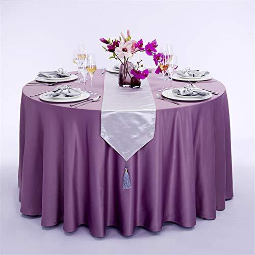 Mantel de satén sedoso redondo, mantel de tela de satén de color sólido para tapete de mesa de reunión, mantel redondo sin arrugas para el banquete de restaurante del banquete de boda,C,87