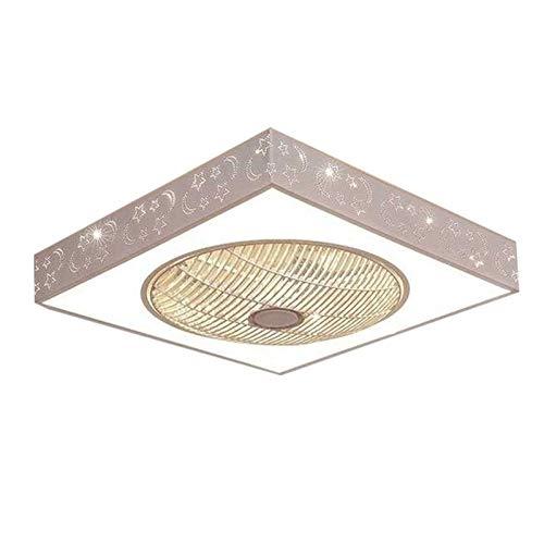DULG Ventilador de techo con lámpara de iluminación Lámpara de ventilador de fuente de luz de tres colores Lámpara de techo LED moderna invisible ajustable sin cuchillas con control remoto para dormit
