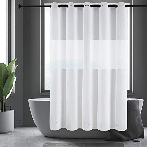 Furlinic Duschvorhang Überlänge Hookless Badvorhang aus PEVA mit Frost Fenster Anti-schimmel Wasserdicht Waschbar für Dusche und Badewanne mit Magnet 180x210 Weiß mit Groß Ösen.