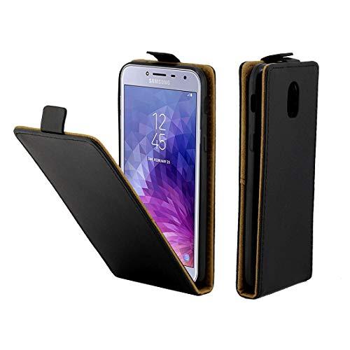 ZAORUN Cubiertas Protectoras de Cellphone Funda de cuero estilo TPU con flip vertical Compatible for Galaxy J3 (2018) / J4 (2018) Versión estadounidense / J3 Star, con ranura Compatible for tarjeta (N