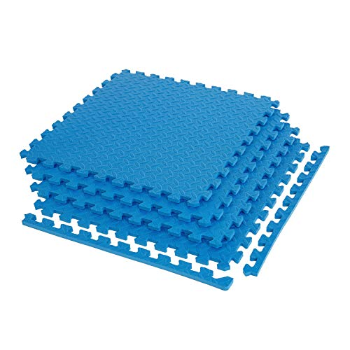 "IncStores 5/8"" Diamond Soft Extra Thick Multi Purpose Gym, Exercise, Basement Protective Interlocking Flooring Foam Tiles (Blue, 4-2'x2' Tiles (16 Sqft))"