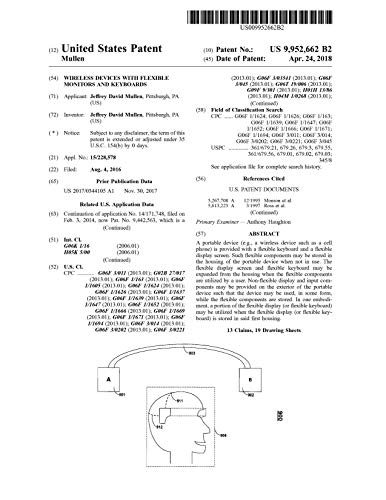 Wireless devices with flexible monitors and keyboards: United States Patent 9952662 (English Edition)