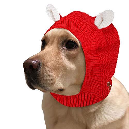 Eillybird Grappige hondenhoed huisdier gebreide muts, warme winter polyester gebreide hoofddeksel, gehaakte winddichte hondenkap voor middelgrote honden en mensen, rood