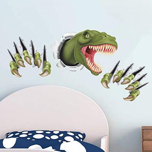 Cartoon Dinosaur Through Wall Stickers for Kids Room Bedroom Decor Animal 3D Effect Brocken Wall Home Decal Poster Children