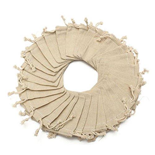 Parthan Bolsas de lino con cordón – 50 pequeñas bolsas de regalo...