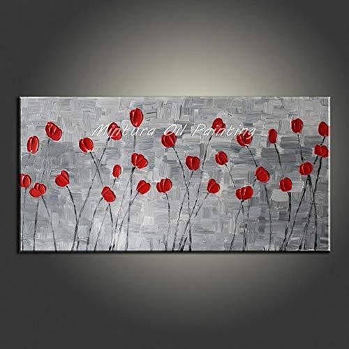 Pintado A Mano La Pintura Al Óleo Sobre Lienzo 100% Pintado A Mano Pintura Al Óleo Sobre Lienzo Pétalos Rojos Fondo Gris Árbol Afortunado Árbol Del Dinero Pinturas De Pared Grandes Para El Porche