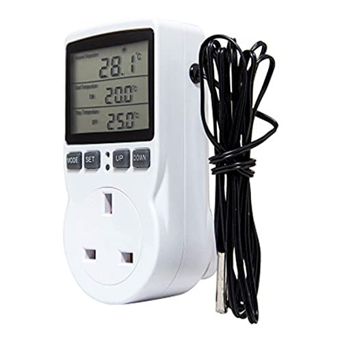 FANJUANMIN UE, EE. UU., AU/Reino Unido, temporizador de toma de corriente con temporizador digital controlador de temperatura, interruptor de temporizador, sonda (color: Reino Unido, tamaño: libre)